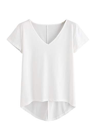 DIDK Damen V-Ausschnitt T-Shirt Kurzarmshirt Einfarbig Tops Casual Oberteile Asymmetrisch Locker Sommer Shirts Tunika Top Reines T-Shirts Weiß M