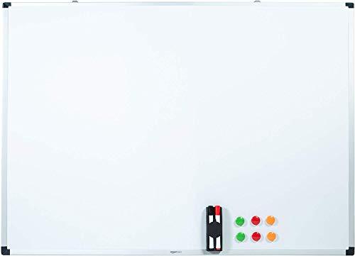Amazon Basics Magnetisches Whiteboard mit Stiftablage und Aluminiumleisten, trocken abwischbar, 120 cm x 90 cm (B x H)