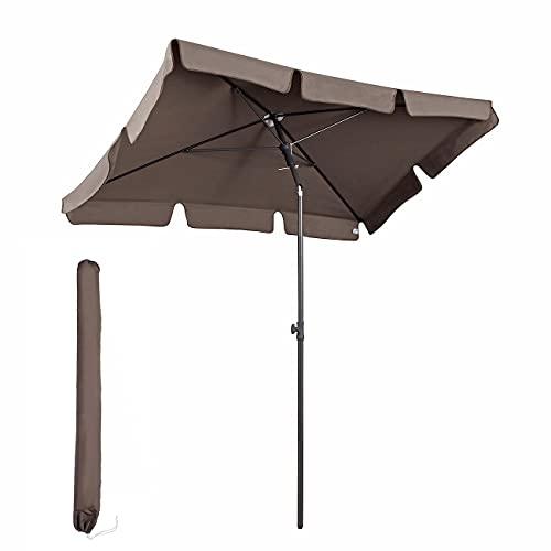 Sekey® 200 × 125 cm Sonnenschirm Marktschirm Gartenschirm Terrassenschirm Sonnenschutz UV 50+ Cappuccino Quadratisch