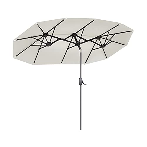 Sekey® 150 × 300 cm Aluminium Doppelsonnenschirm Marktschirm Gartenschirm Terrassenschirm Sonnenschutz UV50+ Creme