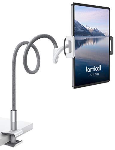 Lamicall   Universal-Schwanenhals-Tablethalter, um 360º drehbar, Lange Flexarm mit Klemmhalterung, geeignet für alle 4,7- bis 10,5-Zoll-Geräte - Grau