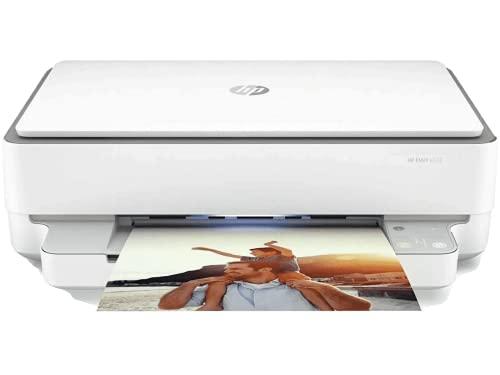 HP Envy 6032 5SE19B Multifunktionsdrucker, Drucken, Scan, Foto, Wi-Fi Dual-Band, Bluetooth 5.0, USB 2.0, 100 Blatt Schublade, unterstützt A4, A5, B5, DL, C6, A6, HP Smart, grau