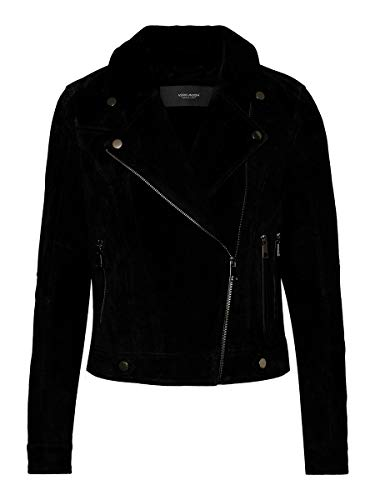 VERO MODA Damen Vmroycesalon Short Suede Jacket Noos Lederjacke, Black, M EU