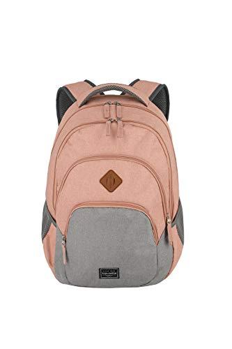 travelite Rucksack Handgepäck mit Laptop Fach 15,6 Zoll, Gepäck Serie BASICS Daypack Melange: Modischer Rucksack in Melange Optik, 096308-17, 45 cm, 22 Liter, rosa/grau
