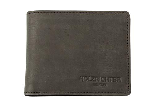 HOLZRICHTER Berlin Herren Geldbörse aus Leder (L) - Handgefertigtes Herren Portemonnaie Quer - schwarz anthrazit