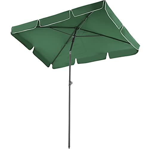 TecTake 800683 Aluminium Garten Sonnenschirm, höhenverstellbar, Knickfunktion, UV-Schutz 50+, 200 x 125 x 235 cm - Diverse Farben – (Grün | Nr. 403137)