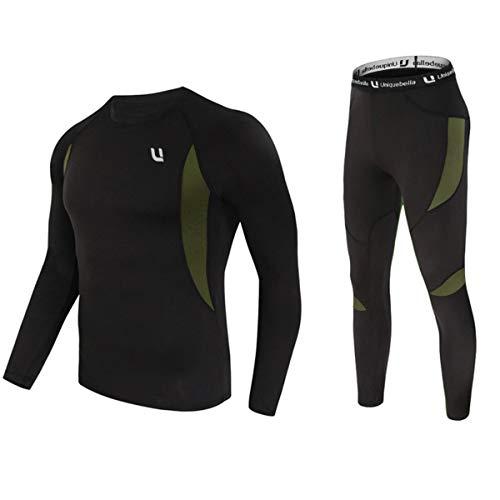 UNIQUEBELLA Thermounterwäsche Set, Funktionswäsche Herren Skiunterwäsche Winter Suit Ski Thermo-Unterwäsche Thermowäsche Unterhemd + Unterhose (Schwarz, M)