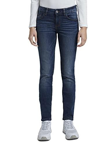 TOM TAILOR Damen Alexa Slim Jeans, Dark Stone Wash Denim, 28W / 32L