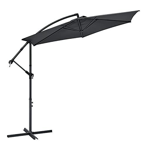 ArtLife Ampelschirm Brazil 350 cm LED-Beleuchtung Solar & Kurbel – UV-Schutz wasserabweisend knickbar – Sonnenschirm Marktschirm Gartenschirm – grau