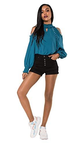 Crazy Age Damen Bermuda Shorts Damen High Waist Shorts Kurze Hosen 5 Pocket Jeans-Shorts | Lockere Kurze Hose aus hochwertigen Denim (40, Black)