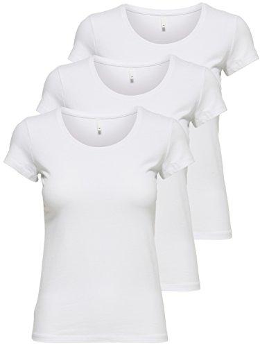 ONLY 3er Pack Damen T-Shirt schwarz oder weiß Kurzarm lang Basic Sommer T-Shirts XS S M L XL 15209153 (Weiß, M)