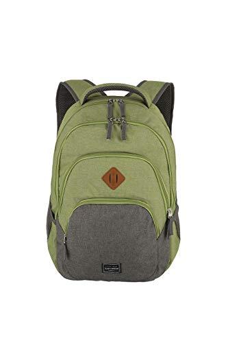 travelite Rucksack Handgepäck mit Laptop Fach 15,6 Zoll, Gepäck Serie BASICS Daypack Melange: Modischer Rucksack in Melange Optik, 096308-80, 45 cm, 22 Liter, grün/grau
