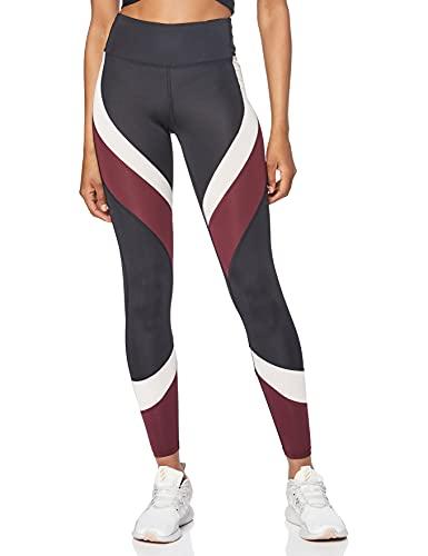 Amazon-Marke: AURIQUE Damen Colour Block-Sportleggings, Schwarz (Black/Port Royale/Blush), L