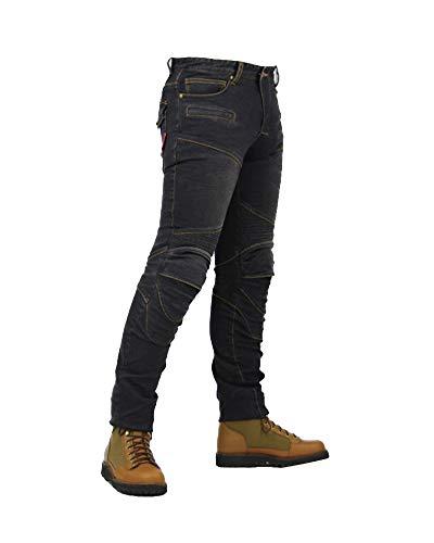 YOUCAI Herren/Damen Motorradrüstung Motorradhose Stretch Slim Fit Sportliche Motorrad Jeans mit Protektoren Schutzauskleidung,S,Schwarz