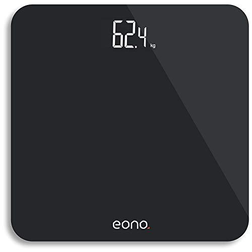 Amazon Brand - Eono Digitale Personenwaage mit hochpräzisen Sensoren und gehärtetem Glas, besonders schlankes Design, Gewichtsanzeige (kg/lbs/Stone) – 15 Jahre Garantie, Schwarz