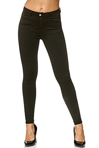 Elara Damen Slim Fit Hose Highwaist Jeans Chunkyrayan H619-16 Black 40 (L)