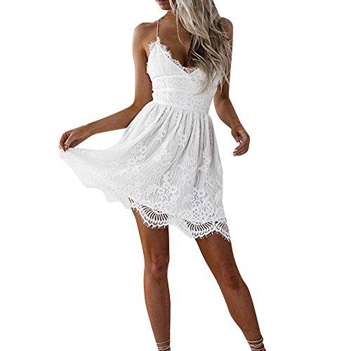 StarneA Sommerkleid Damen Knielang, Sexy Rückenfreies Kleid V Ausschnitt Abendkleider Elegant für Hochzeit Strandkleid Damen Weiß Spitze Urlaub Kleider Sommer Cocktailkleid
