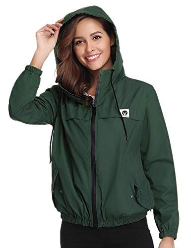 Aibrou Damen Leichte Regenjacke Wasserdicht Atmungsaktiv Langer Kapuzen Windjacke Trenchcoats mit Kapuze für den Außenbereich