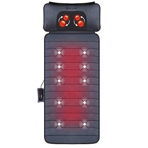 Comfier Massagematte mit Wärmefunktion, Ganzkörpermassagematte mit beweglichem Shiatsu-Massagekissen, 10 Vibrationsmotoren und 4 Heizkissen, Nacken und Schulter-Rückenmassagegerät zur Schmerzlinderung