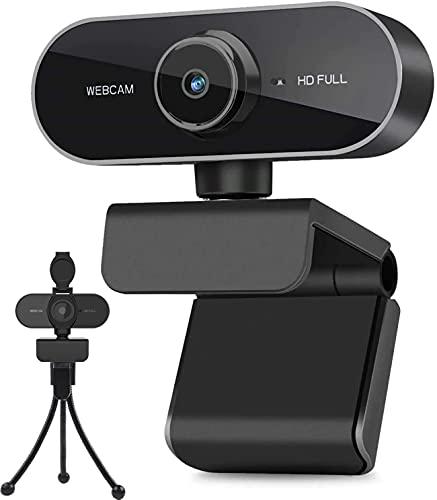 Webcam mit Mikrofon und Stativ, 1080P Webcam für PC Laptop Desktop, USB Computer Kamera für Videoanruf und Aufnahme, Studieren, Web Konferenzen, HD Webcam Kompatibel mit Windows, Mac und Android