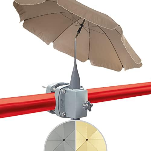 4smile Set - Sonnenschirm Balkon SunnyJoy + Sonnenschirmhalter Balkongeländer SunnyBoy – UV 50+ Balkon-Sonnenschirm mit Halterung, D 200cm - Raumwunder Komplettset, zeitlos modern in Fb. Taupe