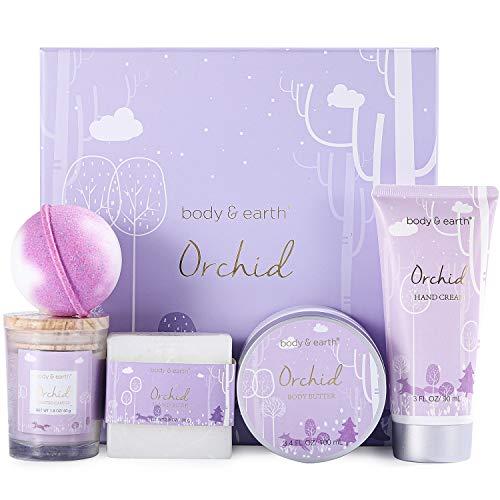 Geschenkbox für Frauen, 5Pcs Wichtelgeschenke für Frauen mit Orchideenduft,Beinhaltet Duftkerze,Körperbutter,Handcreme,Badebar und Badebombe, Beauty Set körperpflege damen