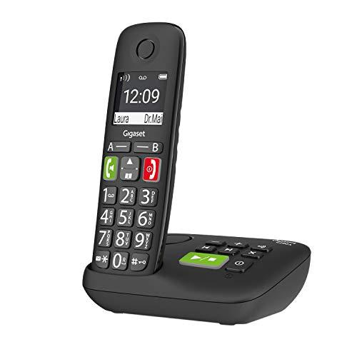 Gigaset E290A - Schnurloses Senioren-Telefon mit Anrufbeantworter und großen Tasten - großes Display, Zielwahltasten für wichtige Nummern, Verstärker-Funktion für extra lautes Hören, schwarz.