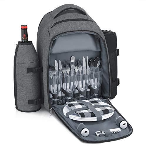 Gonex Picknick-Rucksack für 4 Personen mit isoliertem Kühlfach, Fleece-Decke, abnehmbarem Weinhalter, Besteck-Set (grau)