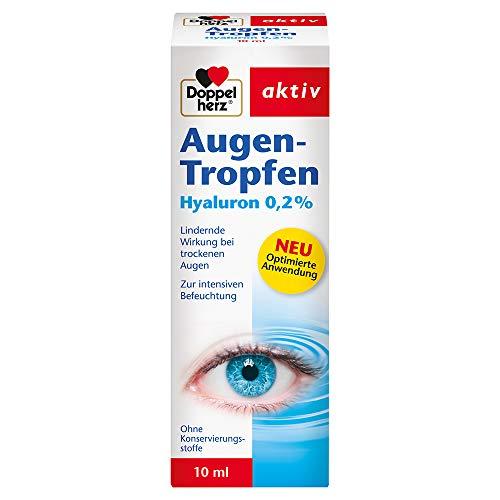 Doppelherz Augen-Tropfen Hyaluron 0,2% – Medizinprodukt ohne Konservierungsstoffe mit lindernder Wirkung bei trockenen Augen – 10 ml sterile Lösung