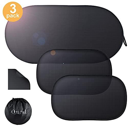 Oziral Auto Sonnenschutz für Babys 3 Stück Universeller Auto Sonnenblende mit UV Schutz Selbsthaftende Sonnenblenden Abdeckung für Kinder (Schwarz)