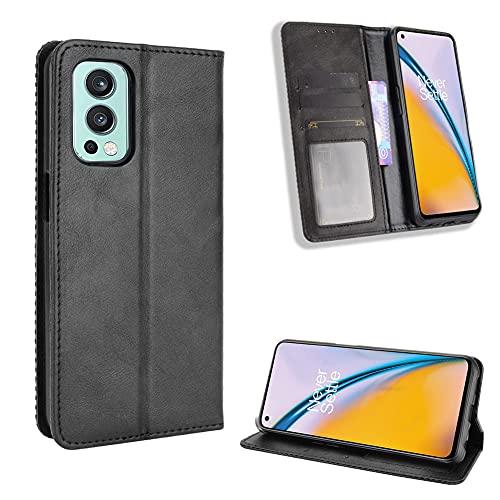 Fitudoos Handyhülle für Oneplus Nord 2 5G Hülle Leder, Handyhülle für Oneplus Nord 2 5G Hülle Leder Flip Case Brieftasche Etui - Schwarz