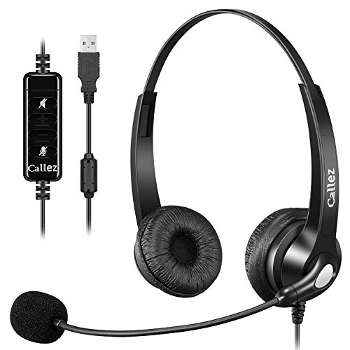 USB Headset PC für Business Skype UC Lync SoftPhone Call Center Office, Stereo PC Kopfhörer mit Mikrofon Noise Cancelling & Lautstärkeregler, Kristallklar Chat, Super Leicht, Ultra Komfort