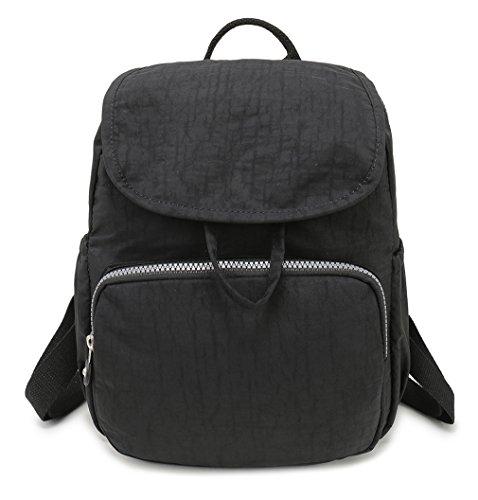 Kleiner Nylon-Rucksack, wasserdicht, Mini-Rucksack, modisch, leicht, Outdoor-Reisetaschen für Frauen, Tagesrucksack für Mädchen – Schwarz