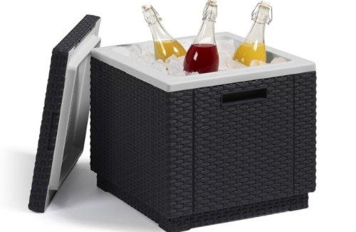 Allibert 212159 Kühlbox/Beistelltisch Ice Cube, Rattanoptik, Kunststoff, anthrazit