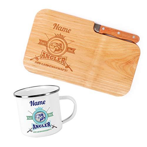 Herz & Heim® Frühstück Set für Angler mit Schneidebrettchen inklusive Messer und Emailletasse - perfekt für ein Outdoor Frühstück beim Angeln