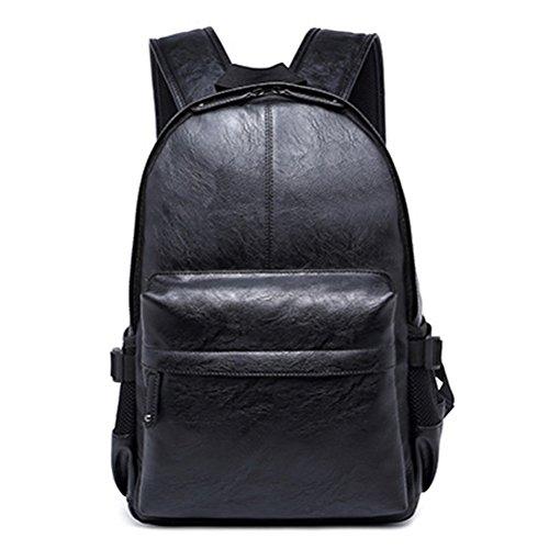Legerer PU-Leder-Laptop-Rucksack im Vintage-Stil von Fewofj, modisch, für Schule, Uni, Studenten, Rucksack, Reisen, Tablet, Tagesrucksack für Herren schwarz Schwarz