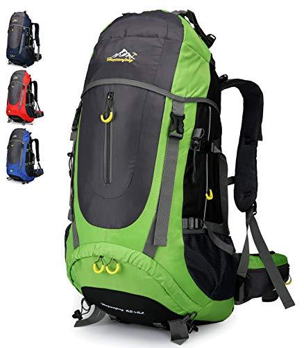 Doshwin 70L Trekkingrucksack Campingrucksack Reiserucksack Wanderrucksack Großer Rucksack für Damen Herren (Grün)