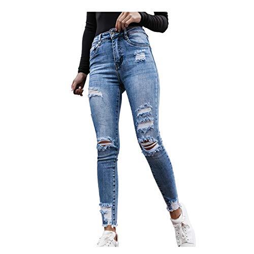 Ghemdilmn Damen Skinny High Waist Jeans Stretch Jeanshose Löcher Elegant Röhrenjeans Frauen Risse Ripped Lang Eng Denim Hose Destroyed Jeggings