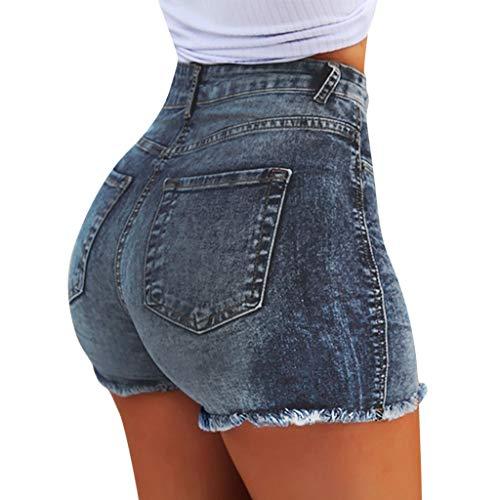 Deloito Neu Sommer Kurz Hotpants Damen Mode Jeans Shorts Sexy Taschen High Waist Denim Mini Hose mit Taschen (Blau,Medium)