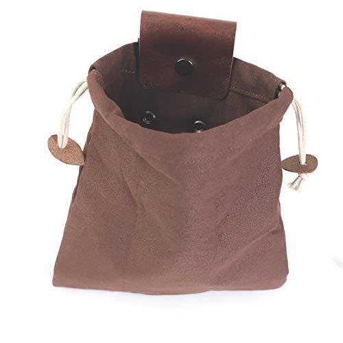 Taloit Outdoor Bushcraft Bag, tragbare, hüfthängende Ledergürtel-Tasche aus Leder mit großer Kapazität zum Wandern, Reisen auf dem Land