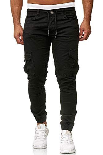 Cassiecy Herren Hosen Cargo Chino Jeans Stretch Jogger Sporthose Herren Hose mit Taschen Slim Fit Freizeithose, XXL, Schwarz