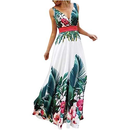 Damen Kleider Sommer V Ausschnitt Ärmellos Sexy Strandkleid Jeanskleid Kleid Große Größe Kleid Polyester Bohemien Bedruckt Partykleid Maxikleid (EU:40, Grün)