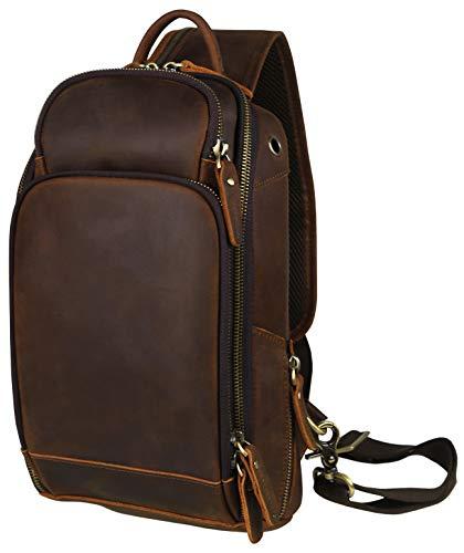 LANNSYNE Vintage Echtleder Sling Rucksack Brusttasche Herren Taschen Kleine Crossbody Umhängetasche Schultertasche Daypack