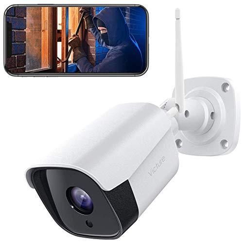 Victure 1080P Überwachungskamera Aussen, 2.4Ghz WLAN IP Kamera mit IP66 wasserdichte, CCTV Kamerasystem mit Zwei Wege Audio, Metalloberfläche Außen Kamera mit Bewegungserkennung und Nachtsicht