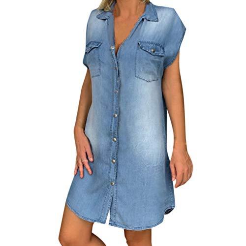 Damen Kleider Sommer Herbst V-Ausschnitt Ärmellos Strandkleid Freizeitkleid Jeanskleider Damen Stretch Boho Kleid Baumwolle Denim Bedruckt Partykleid Minikleid (EU:42, Blau A)