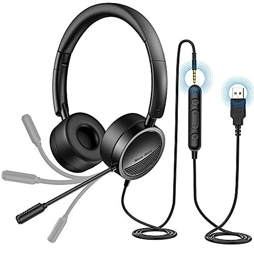 New bee PC Headset mit Mikrofon USB/3,5mm Business Headset Noise Cancelling & Klare Stereo-Sound für Call Center Office Telefonkonferenzen Skype-Chat Webinar-Präsentationen Online-Kurse und Musik