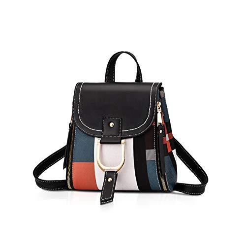 NICOLE&DORIS Damen Rucksack Kleiner Rucksack Umhängetasche Handtaschen Rucksack für Damen Leder Rucksack Schultertasche Schwarz