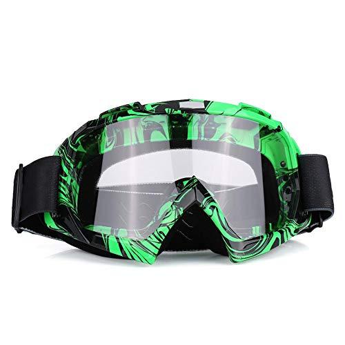 EVGATSAUTO Motorradbrille, Motorrad Motocross Offroad Dirt Bike Rennbrille Brille Augenschutz(Grüner Rahmen + transparente Linse)
