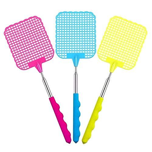 LIUJZZJ Ausziehbare Kunststoff-Hand Fliegenklatsche Fly verhindern Pest Dauerhaft Mosquito Tool Edelstahl, Rose Rot, Gelb, Blau 3 Packung (Mehrfarbig A)