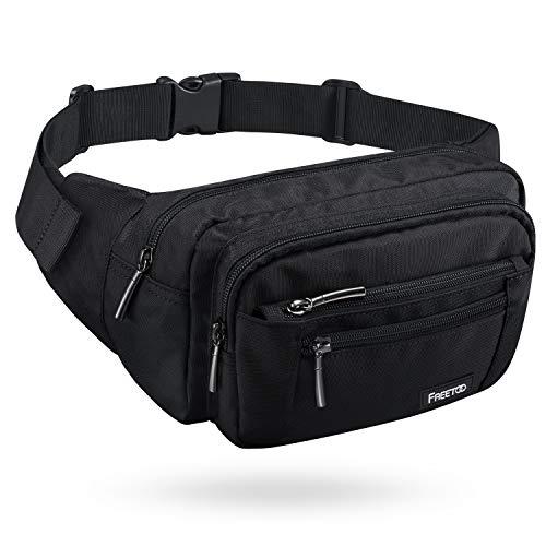 FREETOO Gürteltasche Bauchtasche 5 Fächer Multifunktionale Hüfttasche mit Reißverschluss Geeignet für Reise Wanderung und Alle Outdoor-aktivitäten Schwarz für Damen und Herren